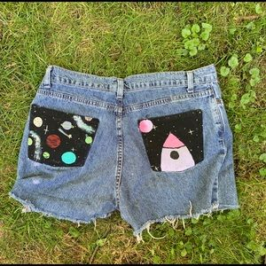 CUSTOM PAINTED SPACE JEAN SHORTS